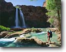 Stock photo. Caption: Fremont cottonwoods and Havasu Falls Havasu Creek,  Havasu Canyon Havasupai Indian Reservation Colorado Plateau,  Arizona -- united states america wilderness hiker hiking hikers waterfall waterfalls southwest canyon country backpack backpacking backpacker stunning travertine formations formation landscape landscapes adventure solitude people