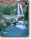 Stock photo. Caption: Travertine terraces and Havasu Falls Havasu Canyon Havasupai Indian Reservation Colorado Plateau,  Arizona -- Keywords: united states america wilderness waterfall waterfalls southwest canyon country stunning travertine formations formation landscape landscapes adventure solitude