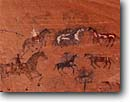 Stock photo. Caption: Horsemen pictograph Canyon del Muerto Canyon de Chelly National Monument Colorado Plateau,  Arizona -- petroglyph native american rock parks ancient civilization civilizations indian indians communication historic historical petroglyphs anasazi culture pictographs parks mysterious glyphs glyph animals animal horses horse rider riding riders horseback