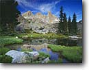Stock photo. Caption: Ritter Range reflection Ansel Adams Wilderness Inyo National Forest Sierra Nevada, California -- Keywords: united states america backpack backpacking backpacker landscape landscapes adventure solitude  highcountry lake lakes mountains wildernesses sierras backcountry isolation isolated  peace peaceful worship john muir trail pacific crest