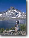 Stock photo. Caption: Banner Peak from Thousand Island Lake Ansel Adams Wilderness Inyo National Forest Sierra Nevada,  California -- united states america people outdoor recreation freedom solitude summer  hiking hiker backpacker backpacking lakes highcountry backcountry wildernesses sierras landscape landscapes blue person person hikers serene serenity john muir trail pacific crest