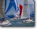 Stock photo. Caption: Summer sailing San Francisco Bay Bay Area California -- united states america landscape landscapes west pacific bays city cities boats boat sailboat sailboats sails people persons sailers leisure outdoor recreation wealth vessels vessel weekend getaway regatta