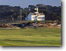 Stock photo. Caption: Point Pinos Lighthouse  and Pacific Grove   Municipal Golf Course Monterey Peninsula Monterey County, California -- couses lighthouses winter golfing verdant united states parks light station morning spring protection beacon beacons direction guidance pharos navigation america navigational aid aids building buildings