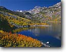 Stock photo. Caption: Aspens line Sabrina Lake Bishop Creek Canyon Inyo County Sierra Nevada,  California -- Keywords: united states america sierras tree autumn fall color colour colours colors lakes high mountain elevation outdoor recreation people canoe canoeing fishing boat boats boating fishermen