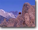 Stock photo. Caption: Alabama Hills   and Mt. Whitney Sierra Nevada California -- united states solitude mountains sierras  people climbing climber mount peaks high mountain  solitary freedom peace peaceful movie sets soaring serene serenity america quiet place mountain simple climbers
