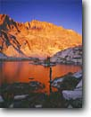 Stock photo. Caption: Alpenglow on Mt. Darwin Evolution Lake Kings Canyon National Park Sierra Nevada,  California -- Keywords: united states america backpack hike backpacker landscapes hikers person people solitude highcountry lake lakes mountains wildernesses sierras backcountry isolation isolated peaceful evening light harmony mount parks people john muir pacific crest trail