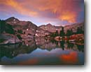 Stock photo. Caption: Sunset, Sixty Lakes Basin Kings Canyon National Park Sierra Nevada California -- Keywords: united states america backpack hike landscape landscapes solitude highcountry lake lakes mountains wildernesses sierras backcountry isolation isolated peace peaceful evening light harmony glassy parks alpenglow adventure secluded summer