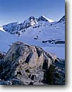 Stock photo. Caption: Scylla and The Three Sirens   above Chasm Lake,  Ionian Basin Kings Canyon National Park Sierra Nevada, California -- Keywords: united states america mountain sierras backcountry highcountry parks Wilderness wildernesses lakes sequoia  landscape landscapes granite peaks peak range snow snowy winter spring frozen rocky outcrop sunny clear destination destinations cold weather
