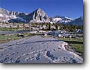 Stock photo. Caption: Glacial polished granite below     Vennacher Needle,   Lake Basin Kings Canyon National Park Sierra Nevada, California -- Keywords: united states america mountain sierras backcountry highcountry parks Wilderness wildernesses landscape landscapes granite peaks peak range geologic geology alpine timberline clear sunny summer lakes