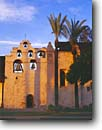 Stock photo. Caption: Mission San Gabriel 4th mission in the California chain San Gabriel Los Angeles County,  California -- Keywords: united states america missions historic history americana religion religious cross crosses purity pure spiritual missionary period spanish catholic christian christianity arches archways holy church churches places adobe bell bells tower towers worship