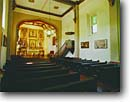 Stock photo. Caption: Mission San Gabriel 4th mission founded in the  California chain San Gabriel Los Angeles County,  California -- Keywords: united states america missions historic history americana religion religious cross crosses purity pure spiritual missionary period spanish catholic christian christianity pews archways holy church churches places adobe christ interior interiors worship