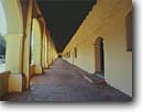 Stock photo. Caption: Mission San Fernando Rey de Espana 17th mission founded in the California chain San Fernando Valley Los Angeles County,  California -- Keywords: united states america missions historic history americana religion religious cross crosses purity pure spiritual missionary period spanish catholic christian christianity arches archways holy church churches places adobe worship walkway