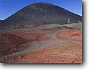 Stock photo. Caption: Cinder cone Painted Dunes Lassen Volcanic National Park Cascade Range,  California -- Keywords: volcano volcanoes parks peaks cones mountains united states america ranges landscape landscapes tourist travel destination destinations cascades family vacation vacations  dune summer clear sky skies contrast reddish colorful color red colour  volcanic