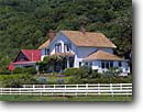 Stock photo. Caption: Rancho Baulines,  Highway 1 at  junction of the Olema Bolinas Road Golden Gate National Recreation Area Marin County,  California -- house housing residence historic historical coastal coast fence white picket pastoral ranch building buildings areas