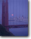 Stock photo. Caption: Golden Gate Bridge and San Francisco   from the Marin County Headlands Golden Gate National Recreation Area California -- city cityscapes cityscape areas urban  united states travel tourist destination destinations landmark landmarks recreation bridges suspension skyline skylines icon icons attraction attractions highway highways symbols symbol bays full moon moons rising