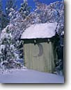 Stock photo. Caption: Outhouse in the   Eastern Sierra Nevada Inyo National Forest Mono County,  California -- united states america outhouses toilet toilets latrine mountains sierras cute symbol western rest room john privy head rustic snow moon half cold winter