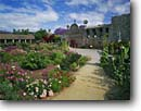 Stock photo. Caption: Entry courtyard and spring flowers Mission San Juan Capistrano San Juan Capistrano Orange County, California -- united states america missions historic history americana religion religious cross crosses purity pure spiritual missionary period spanish catholic christian christianity holy church churches places adobe worship garden gardens