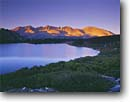 Stock photo. Caption: Alpenglow,  Kaweah Peaks Ridge   from Little Five Lakes Sequoia National Park Sierra Nevada, California -- Keywords: united states america backpack hike landscape landscapes solitude highcountry lake lakes mountains wildernesses sierras backcountry isolation isolated peace peaceful evening light harmony glassy parks  adventure secluded