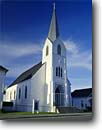 Stock photo. Caption: Our Savior Lutheran Church Ferndale Humboldt County California -- cross crosses churches religion religious united states america worship missionary christian christianity places place historic building historical white buildings