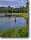 Stock photo. Caption: Fly fishing, Tuolumne River Echo Peaks and Unicorn Peak Tuolumne Meadows, Yosemite National Park Sierra Nevada, California -- meadow meadows rivers peak parks mountains mountain flyfish flyfishing summer outdoor recreation morning light world heritage Site Sites challenge challenging landscape landscapes travel tourist people fishing angler anglers angling fisherman clear