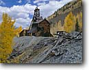 Stock photo. Caption: Abandoned ore mill    near Rico San Juan Mountains Colorado -- united states america historic historical mine mines gold rushes rush mountain building buildings americana protection aspen aspens mineral ore extraction past old west mills mining commerce americana