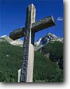 Stock photo. Caption: Grave marker   beneath Kendall Mountain San Juan Mountains Silverton,  Colorado -- united states america tourist rocky attraction attractions rockies cross historic historical cemetary graveyard mining town religious religion past army graves cross crosses