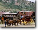 Stock photo. Caption: Overland Stage Line Silverton San Juan Mountains Colorado -- stages stagecoach stagecoaches mining town towns historic historical americana rocky mountain united states america summer tourist destination destinations attraction attractions old west western