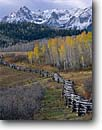 Stock photo. Caption: Sneffels Range from Dallas Divide San Juan Mountains Rocky Mountains Colorado -- united states america pole fences fence aspen aspens trees forest rural fall autumn color colors snow capped peaks cold countryside high country rockies cattle ranch ranches rural nostalgia