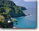 Stock photo. Caption: Honomanu Bay Hana Highway Island of Maui Hawai -- landscape landscapes scenic scenics scene attraction attractions hawaiian sunny clear warm tropics tropical  beach beaches sandy palm palms tree trees turquoise water ocean blue oceans color islands