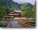 Stock photo. Caption: Byodo-In Temple (Buddhist shrine) Island of Oahu Hawaii -- landscape landscapes scenic scenics scene historical historic attraction attractions churches hawaiian sunny clear warm tropics tropical religion religious site sites community temples shrines buddhism oriental building buildings bridge colorful islands