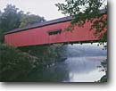 Stock photo. Caption: Narrows Bridge Sugar Creek Turkey Run State Park Indiana -- Keywords: covered bridges creeks parks midwest midwestern united states americana summer landscape landscapes red bridge nostalgic rivers road roads