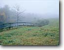 Stock photo. Caption: A fence recedes  in a field on a foggy morning Brown County Indiana -- Keywords: country united states america forest forests tree trees fall fences cold fields  bucolic pastoral rural ranch ranches farms farm ranching foliage midwestern midwest family