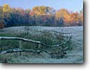 Stock photo. Caption: Fence in field in autumn Brown County Indiana -- Keywords: country united states america forest forests tree trees fall fences frosty cold wintery frost covered fields sunny blue skies bucolic pastoral rural ranch ranches farms farm ranching foliage midwestern midwest family