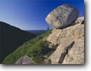 Stock photo. Caption: Granite boulder on South Bubble    above Jordan Pond Acadia National Park Mount Desert Island, Maine -- Keywords: united states america parks balanced granite summer erratic erratics balance landscape landscapes new england northern northeastern glaciated geology