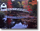 Stock photo. Caption: Cottage Bridge Somesville Mount Desert Island Maine, New England -- united states america fall color pond ponds autumn reflections peaceful trees cloudy travel vacation  bridges northeast northeastern foot reflections arches arched foliage path paths design designs leaves building buildings