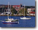 Stock photo. Caption: Marquette Bay and  Marquette   from Lighthouse Point Marquette County,  Lake Superior Upper Peninsula,  Michigan -- united states america great lakes midwest midwestern sailboats sailboat boating boats harbor harbour harbors harbours waterfront waterfronts