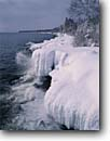 Stock photo. Caption: Lake Superior Cascade River State Park Cook County Minnesota -- Lakeshore united states america midwest midwestern upper north woods  great lakes shoreline cliffs parks snow covered snowy frigid freezing frozen ice waves winter extreme cold landscape landscapes