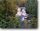 Stock photo. Caption: Upper Falls Gooseberry River Gooseberry Falls State Park Minnesota -- birches parks trees tree northern hardwood forest forests fall autumn color colors great lakes united states america landscape landscapes waterfalls waterfall woodland woodlands color colour colours colors