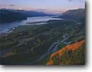 Stock photo. Caption: View of the Columbia River Gorge   from Vista House Columbia River Gorge  National Scenic Area Cascade Range,  Oregon -- united states america landscape landscapes famous waterway rivers areas cascades mighty cascades transportation water