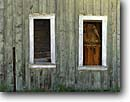 Stock photo. Caption: Outside windows   of abandoned homestead   near Izee Grant County, Oregon -- united states america eastern building buildings ranch rural window rustic pastoral weathered barn boards sill sills old home homes historic historical