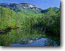 Stock photo. Caption: Table Rock Mountain and Lake Oolenoy Table Rock State Park Mountain Bridge Wilderness Pickens County, South Carolina -- Keywords: united appalachian mountains south southeast southeastern states america appalachia forests lakes wildernesses steep cliff cliffs lakes reflection reflections escarpment spring summer verdant hiking destination destinations rocks dome domes
