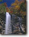 Stock photo. Caption: Rainbow Falls    above Jones Gap State Park Blue Ridge Escarpment Greenville County, South Carolina -- greenville county united waterfall waterfalls fall autumn southern hardwood forest color colors colour colours creek creeks cliff south southeast southeastern states america appalachian appalachians appalachia