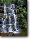 Stock photo. Caption: Opossum Falls near Chattooga River Sumter National Forest Blue Ridge Escarpment Oconee County, South Carolina -- united appalachian mountains south southeast southern southeastern states america appalachia forests water flowing serene waterfalls waterfall cascades cascading creek creeks fall autumn pure purity water forests
