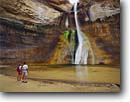 Stock photo. Caption: Lower Calf Creek Falls Calf Creek Recreation Area Grand Staircase-Escalante National  Monument, Colorado Plateau,  Utah -- united states america hiker hiking hikers waterfall waterfalls southwest canyon country pool plunge monuments people