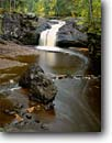 Stock photo. Caption: Upper Amnicon Falls Amnicon River Amnicon Falls State Park Douglas County, Wisconsin -- parks mountains upper midwest midwestern trees tree forest forests soft landscape landscapes travel tourist destination destinations fall autumn rivers rushing waterfall waterfalls attraction attractions  time exposures scenics scenic foliage rocks