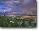 Stock photo. Caption: Snake River and Grand Teton   from Snake River Overlook Grand Teton National Park Rocky Mountains,  Wyoming -- united states america rivers rainbow rainbows rockies summer parks oxbow oxbows landscape landscapes tetons stormy clouds cloud storm thunderstorm thunderstorms
