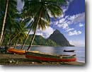 Stock photo. Caption: Coconut palms Locally-made fishing boats Soufriere Bay and Petit Piton Saint Lucia, Lesser Antilles -- palms palm beach beaches bays mountain moutains peak peaks town tranquil windward islands island caribbean sea tropical destination destinations vacation vacations travel tourist attraction attractions handcrafted subsistance
