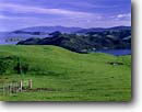Stock photo. Caption: Manaia and Coromandel Harbors   from Kirita Hill Coromandel Peninsula North Island,  New Zealand -- international travels trip vacation coastal ocean headland headlands november verdant seascape seascapes world travel bay bays sounds fence fences pasture pastures pastureland pasturelands spring south pacific pastoral inlet inlets