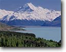 Stock photo. Caption: Lake Pukaki and Mt. Cook from Peters Lookout Southern Alps South Island, New Zealand -- international world travel road highways roads highways mountain snow capped blue skies peaks spring december vacation trip drive destination traveler landscape landscapes destinations tourist scenic drive drives majestic lakes peaks peak glacial glaciers