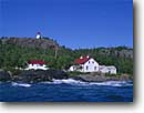 Stock photo. Caption: Slate Islands Lighthouse, Sunday Point Patterson Island,  Lake Superior Slate Islands Provincial Park Ontario,  Canada -- Keywords: light lights station stations lighthouses lakes parks great lakes region beacon beacons direction guidance pharos navigation navigational aid aids canadian parks buildings building secure safe canadian rough historic historical landscape landscapes scenic